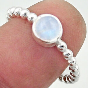 1.05cts Solitaire Natural Rainbow Moonstone 925 Silver Ring Size 6.5 R40539