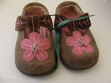MUNCHKIN MATCH N GO INFANT GIRL'S SHOES SIZE 2-BROWN/PINK SUEDE-SLIP ON-NON-SLIP
