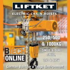 Electric Chain Hoist Liftket 250 kg 240v HOL 3m German Built Australian Cert.
