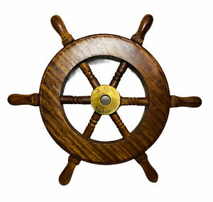 """6"""" Wooden W/Brass Ship Wheel Small Steering Helm Nautical Captains Wall Decor"""