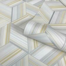 Metallic Geometric Stripes Wallpaper Cube Yellow Grey White Belgravia Hudson