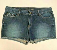 Michael Kors Women's Denim Jean Shorts Sz 8 Blue Mid Rise 100% Cotton Frayed