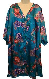 Solange Button Front Sleepshirt Nightshirt Size 22 / 28 Multicolor Floral NWT!