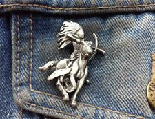 Indian Brave on Horse Pewter Pin Badge