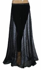 140298 New Diesel Dot Embroidered Embellished Sheer Black Maxi Skirt Small S