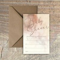 BABY SHOWER INVITATIONS BLANK ROSE GOLD & MOCHA MARBLE EFFECT PACKS OF 10