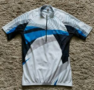 Oxylane B-Twin Cycle Jersey Size UK Medium 92-95cm Blue White and Black