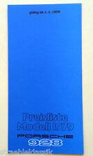 PREISLISTE PORSCHE 928 1979 NUMMER 1918.11