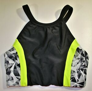 ATHLETA Black and Neon Bright Yellow X Strap Back Support Sports Bra Sz: Small S