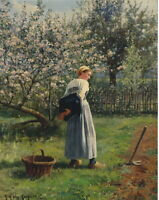 Daniel Ridgway Knight In The Orchard Giclee Canvas Print Paintings Poster