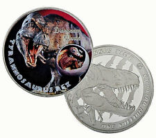 Dinosaur Silver Coin Tyrannosaurus Rex Jurassic Park Scary Monster Worlds Retro