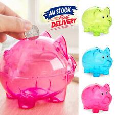 Cartoon Pig Bank Transparent Piggy Money Coins Box Children Gift Storage Box