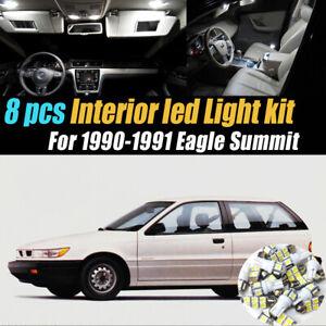 8pc Super White Car Interior LED Light Bulb Kit for 1990-1991 Eagle Summit