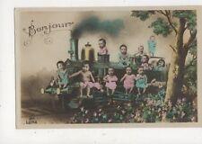 Fantasy Babies On Steam Engine [Luna 294] Vintage RP Postcard 872a