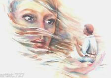 """""""FOREPLAY"""" Orig. Artist Signed Water Color SEX, Woman, Man, Hand, Hair Fantasy"""