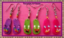 CUTE 12 PAIRS EARRINGS WITH FLIP FLOP STYLE COLORFULL BEADS PERU ART