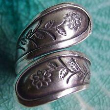 Flower Ring Pure Silver Thai Karen Hill Tribe Size Us=10 Uk=T Adjustable