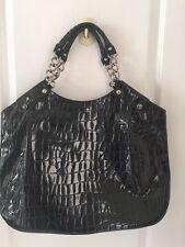 Ssamzie Black Patent Crocodile Print Leather Tote Shoulder Bag Purse EUC