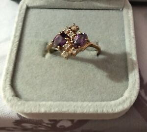 Vintage Rolled Gold & Amethyst Cocktail Ring By Deborah Armstrong Size 8 2.73gms