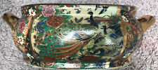 Vintage Chinese Porcelain Koi Fish Bowl With Gilded/Hand-painted Peacocks/Roses