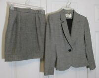 Vintage Saville Skirt Suit sz 2 Petite Black White Check Single Button
