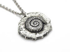 Ammonite Necklace, Handmade Archaeology Fossil Jewelry Ammonite Charm in Pewter