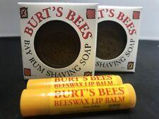Burt's Bees Bay Rum Shaving Soap 3 oz. - Pack of 2 + 2 FREE Lip Balms + Gift Bag