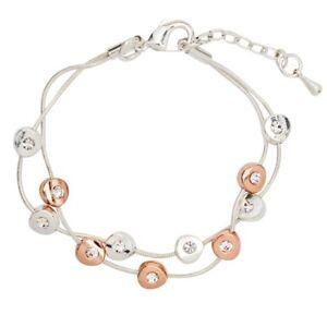 Silver & Rose Gold Crystal Rondelle Multi Strand Bracelet