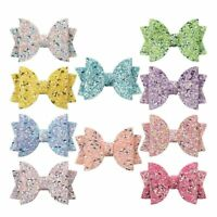 "3"" Glitter Sequins Cute Hair Bow With Alligator Clips for Girls Kids Hairgrips"