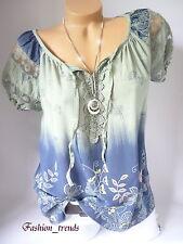 Italy Vintage Blumen Bluse Häkel Spitze Shirt Top Tunika*Khaki/Oliv* 38 40 42