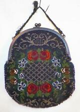 Art Deco Beaded Purse Colorful Flowers Glass Rocaille Beads Vintage 2 Restore