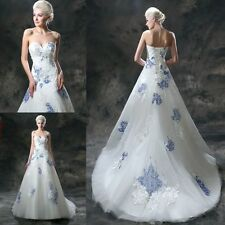 New Chinese blue and white porcelain wedding dress the bride stock size6 -16