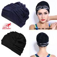 Ladies Turban Swim Cap Swimming Pool Hat Shower adjustable Unisex Adult UK