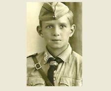 German Boy Youth Party PHOTO World War II, Boy Wearing Hat Uniform Germany