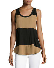 Haute Hippie  Colorblock Racerback  Top Blouse in Suntan/Black   size XS