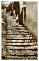 Antique RPPC real photograph postcard Church Steps 120 Steps Ironbridge