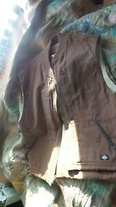 New Dickies Men's Sanded Duck Insulated Vest, Brown  X-Large Sperpa Lined