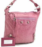 Authentic BALENCIAGA Giant Hand Bag Leather Pink A7751
