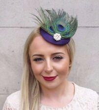 Dark Purple Green Peacock Feather Pillbox Hat Fascinator Hair Clip Races  3899 90766802b9d5