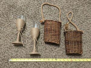 Rustic Barn Wedding Champagne Wine Glasses Set Country Wedding Handmade w Basket