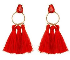Red Bohemian Style Dangle Glass Stud Earrings with Polyester Tassels #605