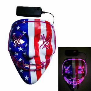 3 Modes LED Mask Light Up Wire Halloween Cosplay Costume Neon Stitches Purge