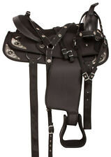 USED  15 16 17 WESTERN CORDURA BLACK GAITED WESTERN HORSE SADDLE TACK SET