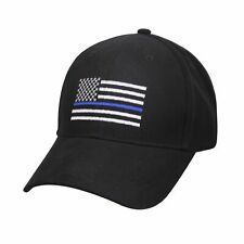 Thin Blue Line USA Flag Ball Cap Police Support Deputy Army MP USMC Hat BLACK