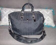 COACH Black Signature C Canvas Cabin Bag Duffel Weekender Suitcase #77114 - EUC