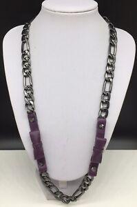BCBGeneration Gunmetal Gray Tone Chain Necklace w/ Purple Bows & Studs BCBG