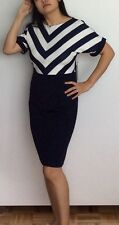 NWT Navy Blue and White Stripe Dress, Bell Short Sleeve, M/L, US size 10