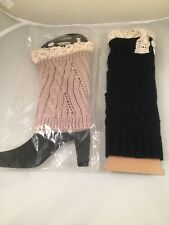 Women Boot Cuffs Knit Black Ivory Lace NWT Leg Warmers