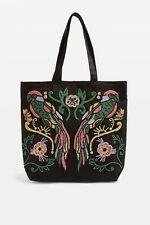 Topshop Parrot Embroidered Tote Bag