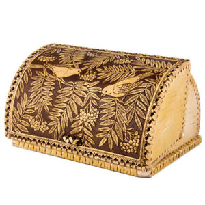 Birch Bark Bread Box Birds Made Russia Natural Eco Hand Carved Anti Mold Small